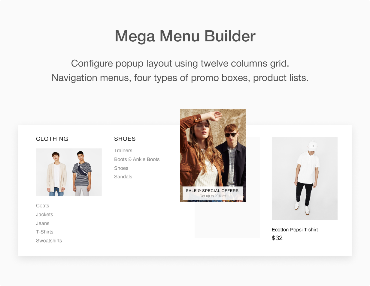 MegaMenu builder at Shella Shopify theme