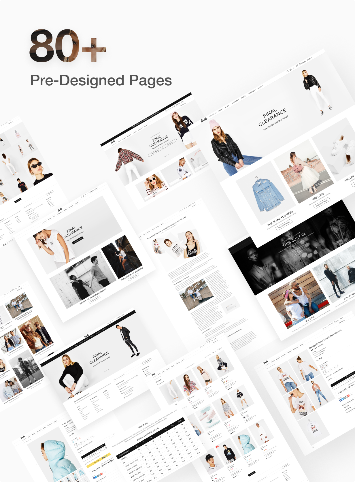 80+ pre designed pages for Shella Shopify theme