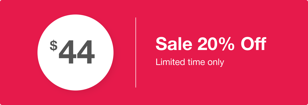 Sale 20% off. Only 44 usd. Hurry up!