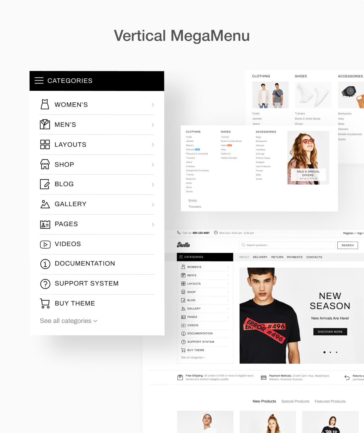 Vertical MegaMenu at Shella Shopify theme