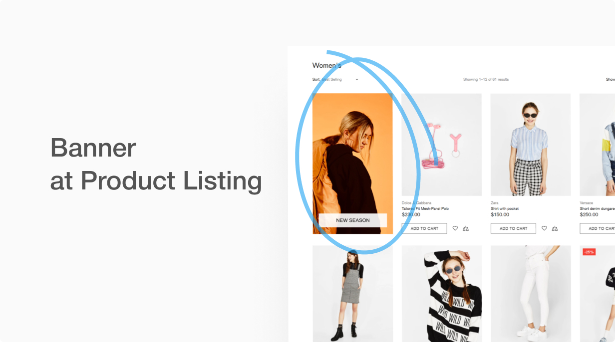 Banner at product listing