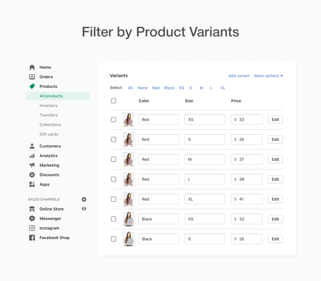 Filter by Product variants