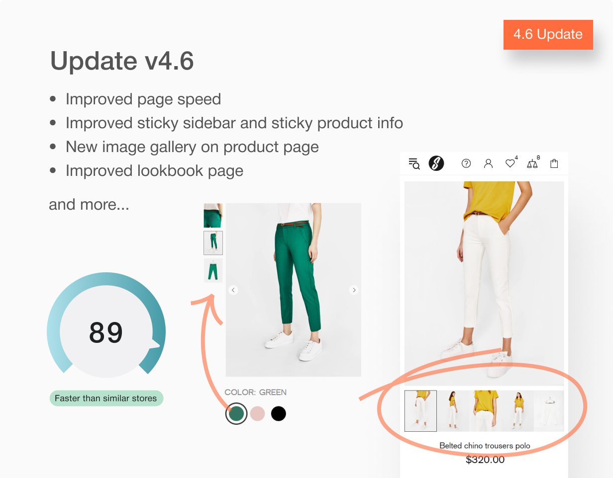 Update 4.6 Speed. New product gallery. Lookbookpage and more